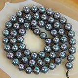 "Black Rainbow Shell Pearl Gemstone Round Loose Beads on a 15.5"" Strand"