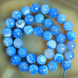 "Faceted Natural Blue Fire Agate Gemstone Round Loose Beads on a 15.5"" Strand"