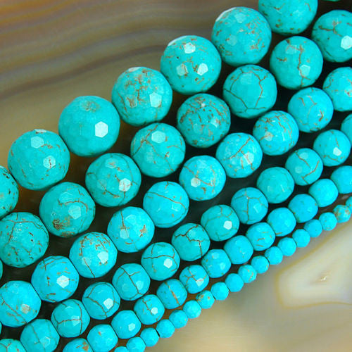 Faceted Blue Howlite Turquoise Gemstone Round Loose Beads on a 15.5