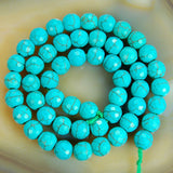 "Faceted Blue Howlite Turquoise Gemstone Round Loose Beads on a 15.5"" Strand"