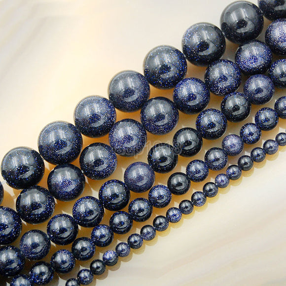 Natural Blue Sandstone Round Loose Beads on a 15.5