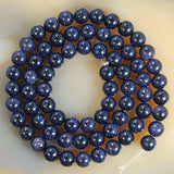 "Natural Blue Sandstone Round Loose Beads on a 15.5"" Strand"