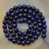 "Faceted Natural Blue Sandstone Gemstone Round Loose Beads on a 15.5"" Strand"