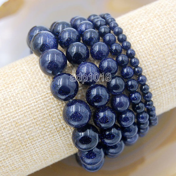 Natural Blue Sandstone Gemstone Beads Stretch Bracelet Healing Reiki
