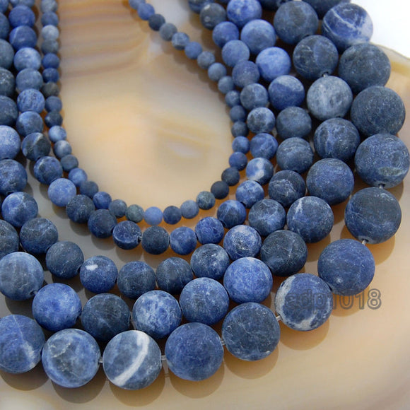 Matte Natural Blue Sodalite Gemstone Round Loose Beads on a 15.5