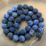 "Matte Natural Blue Sodalite Gemstone Round Loose Beads on a 15.5"" Strand"