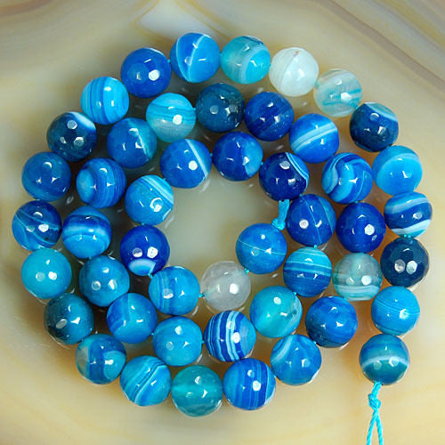 Faceted Natural Blue Striated Agate Gemstone Round Loose Beads on a 15.5