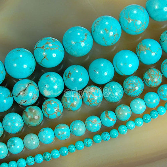 Blue Turquoise Round Loose Beads on a 15.5