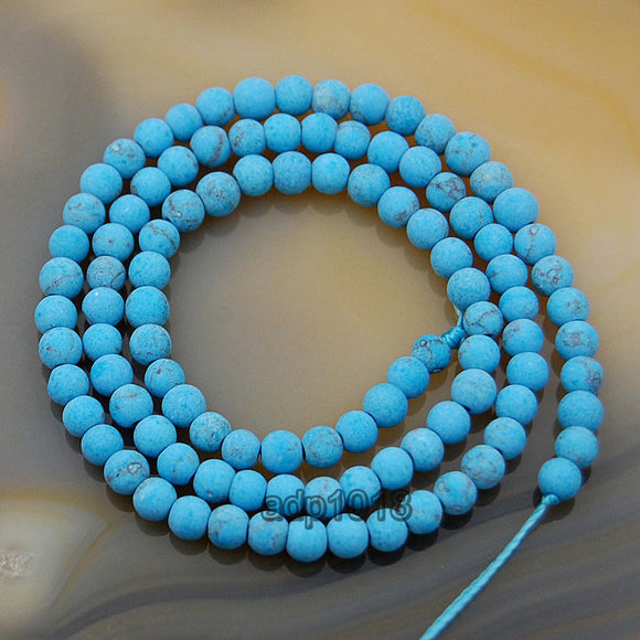 Matte Natural Blue Turquoise Gemstone Round Loose Beads on a 15.5