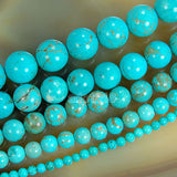 "Blue Turquoise Round Loose Beads on a 15.5"" Strand"