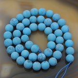 "Matte Natural Blue Turquoise Gemstone Round Loose Beads on a 15.5"" Strand"