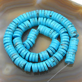 "Blue Turquoise Heishi Gemstone Round Loose Beads on a 15.5"" Strand"