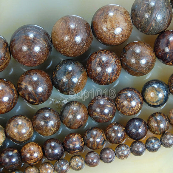 Natural Bronzite Gemstone Round Loose Beads on a 15.5