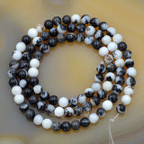 "Natural Brush Painting Jasper Gemstone Round Loose Beads on a 15.5"" Strand"