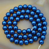 "Czech Capri Blue Satin Luster Glass Pearl Round Beads on a 15.5"" Strand"
