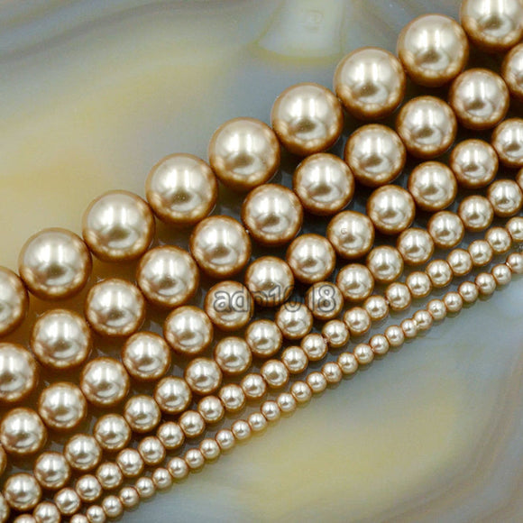 Czech Champagne Satin Luster Glass Pearl Round Beads on a 15.5