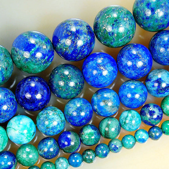 Natural Lapis Lazuli Chrysocolla Gemstone Round Loose Beads on a 15.5