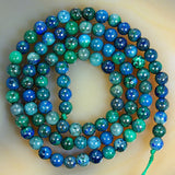 "Natural Lapis Lazuli Chrysocolla Gemstone Round Loose Beads on a 15.5"" Strand"