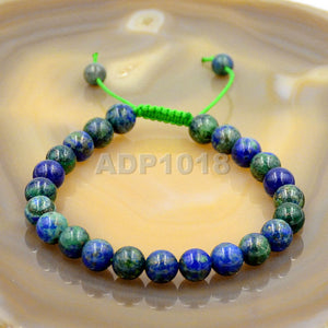 Natural Lazuli Chrysocolla 8mm Gemstone Healing Power Crystal Adjustable Macrame Bracelet