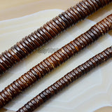 "Natural Coffee Coconut Wood Heishi Loose Beads on a 15.5"" Strand"
