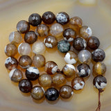 "Faceted Natural Coffee Fire Agate Gemstone Round Loose Beads on a 15.5"" Strand"