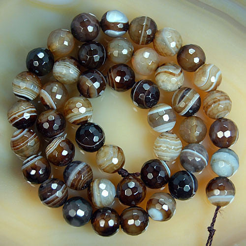Faceted Natural Coffee Striated Agate Gemstone Round Loose Beads on a 15.5