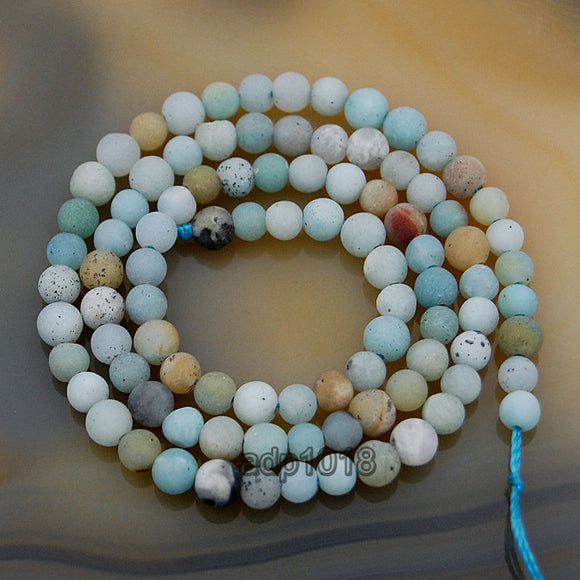 Matte Natural Colorful Amazonite Gemstone Round Loose Beads on a 15.5