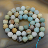 "Matte Natural Colorful Amazonite Gemstone Round Loose Beads on a 15.5"" Strand"