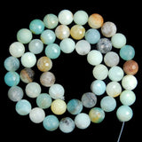 "Faceted Natural Colorful Amazonite Gemstone Round Loose Beads on a 15.5"" Strand"