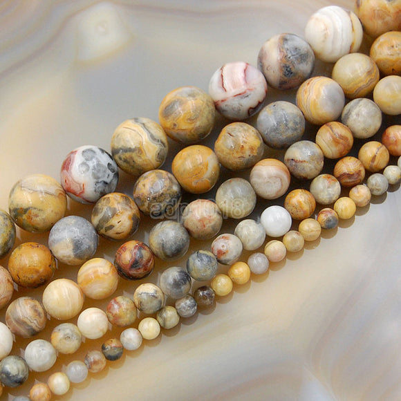 Natural Crazy Lace Agate Gemstone Round Loose Beads on a 15.5