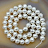 "Czech Cream Satin Luster Glass Pearl Round Beads on a 15.5"" Strand"