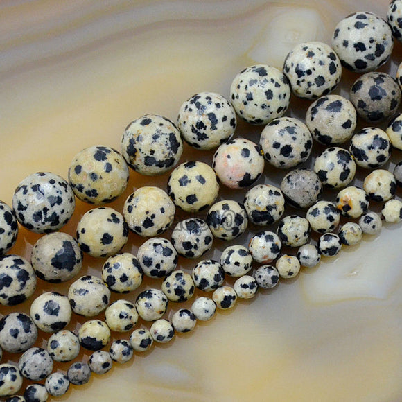 Faceted Natural Dalmation Jasper Gemstone Round Loose Beads on a 15.5