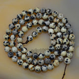 "Faceted Natural Dalmation Jasper Gemstone Round Loose Beads on a 15.5"" Strand"