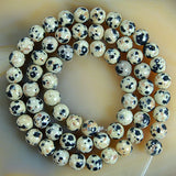 "Natural Dalmation Jasper Gemstone Round Loose Beads on a 15.5"" Strand"