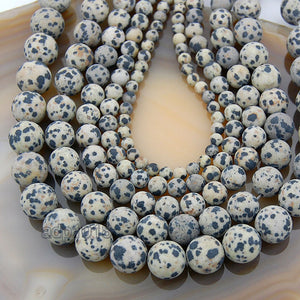 "Matte Natural Dalmation Jasper Gemstone Round Loose Beads on a 15.5"" Strand"