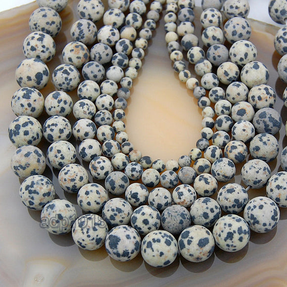 Matte Natural Dalmation Jasper Gemstone Round Loose Beads on a 15.5