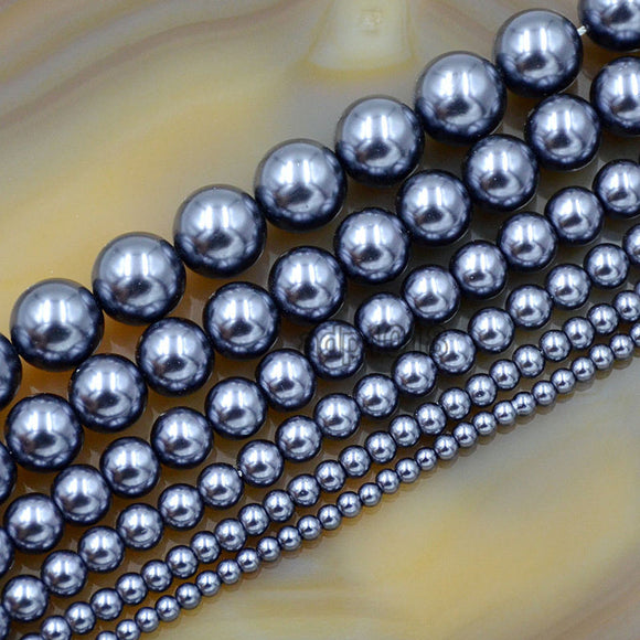 Czech Dark Grey Satin Luster Glass Pearl Round Beads on a 15.5