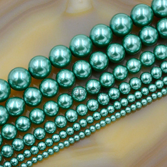 Czech Emerald Satin Luster Glass Pearl Round Beads on a 15.5