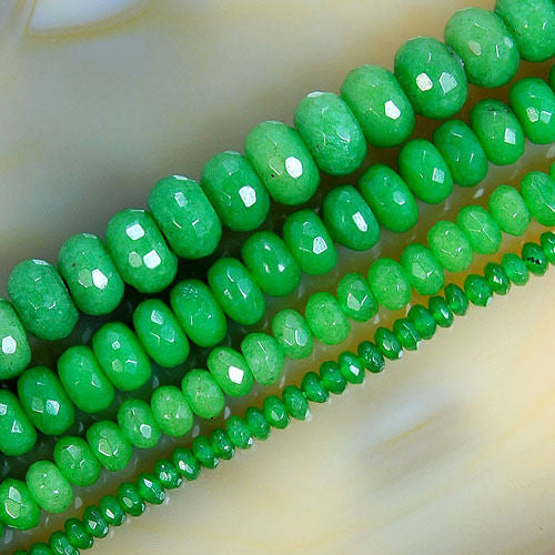 Faceted Green Jade Rondelle Beads 15