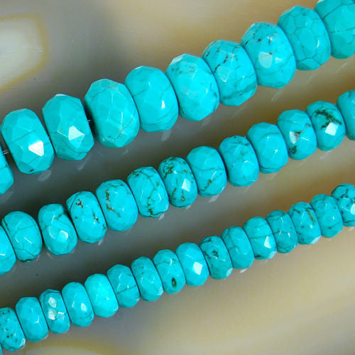 Faceted Green Turquoise Rondelle Gemstone Round Loose Beads on a 15.5