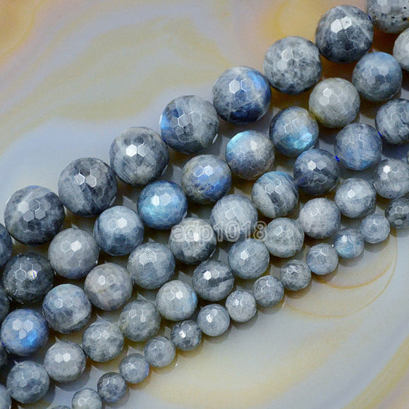 Faceted Natural Labradorite Gemstone Round Loose Beads on a 15.5