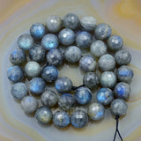 "Faceted Natural Labradorite Gemstone Round Loose Beads on a 15.5"" Strand"