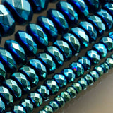 "Faceted Hematite Rondelle Gemstone Round Loose Beads on a 15.5"" Strand"
