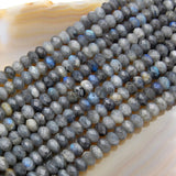 "Faceted Natural Labradorite Rondelle Gemstone Loose Beads on a 15.5"" Strand"