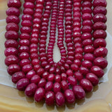 "Faceted Natural Ruby Jade Rondelle Gemstone Round Loose Beads on a 15.5"" Strand"