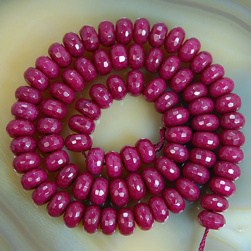 Faceted Natural Ruby Jade Rondelle Gemstone Round Loose Beads on a 15.5