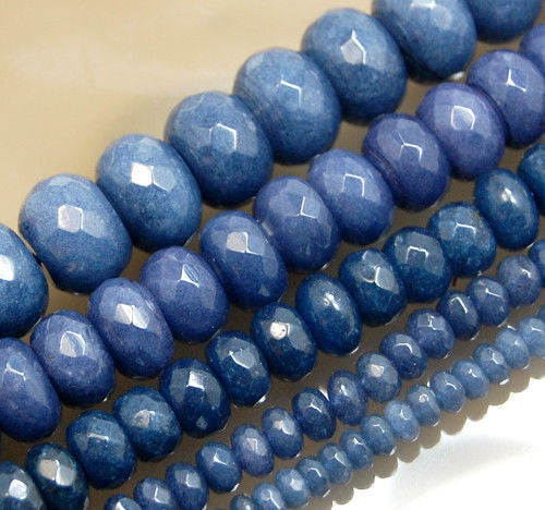 Faceted Natural Sapphire Jade Rondelle Gemstone Round Loose Beads on a 15.5
