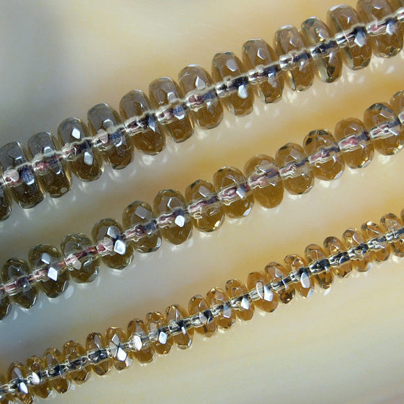 Faceted Natural Smoky Quartz Rondelle Gemstone Round Loose Beads on a 15.5