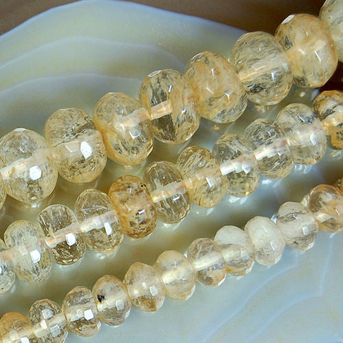 Faceted Natural Yellow Volcano Quartz Rondelle Gemstone Round Loose Beads on a 15.5