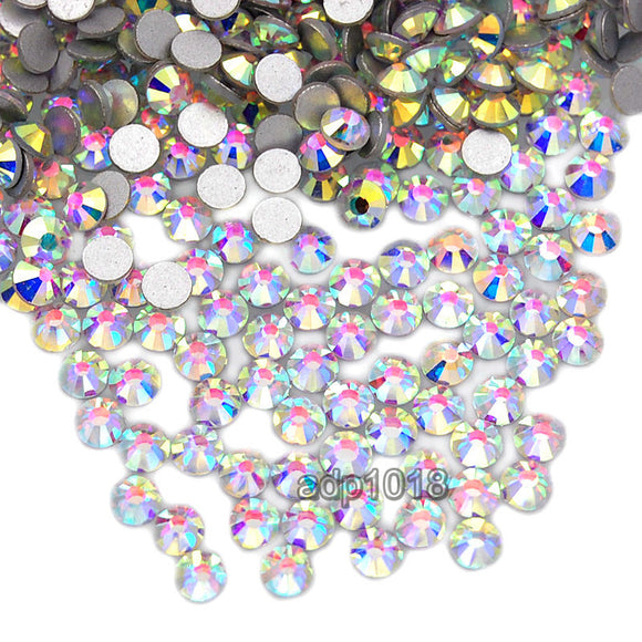 Top Quality Clear AB 001 Glass Crystal Rhinestone Flatbacks Non Hotfix Nail Art